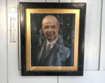 Antique oil painting portrait of gentleman in suit and tie