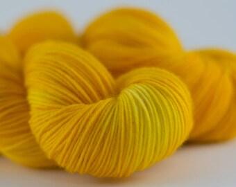 Handdyed semisolid sock yarn Colorway: SUNFLOWER 75/25 wool/polyamide 100g/420m 3.5 oz/460y 4ply, fingering, neon, soft, warm