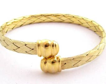 Stunning Vintage Gold Vermeil Braid Cuff Sterling Silver Bracelet*22.9G*Italy*D