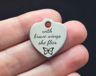 Inspirational Stainless Steel Charm - With Brave Wings She Flies - Laser Engraved - USA - 19mm x 22mm - Quantity Options - F4L400