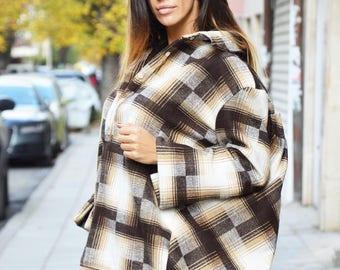 New Asymmetric Wool Shepherd's Plaid Shirt, Extravagant Maxi Loose Shirt, Oversize Winter Hot Shirt by SSDfashion