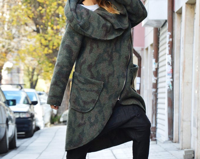 Asymmetryc Extravagant Military Warm Coat, Long Sleeves Winter Coat, Womens Zipper Cashmere Coat by SSDfashion