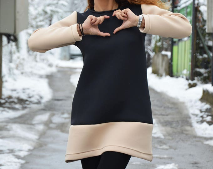 Neoprene Sexy Black and Beige Casual Tunic Top, Long Sleeves Neoprene Blouse, Fashion Design by SSDfashion