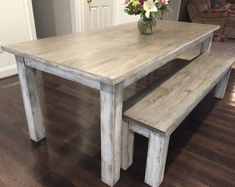 Custom Whitewashed Farm Table Up To 9' Length!!!