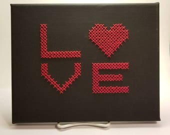 LOVE Cross Stitched 5x7 Canvas
