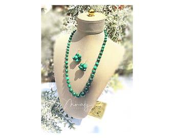 Malachite Stone  Necklace Earring set