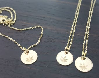 Cannabis Leaf disc necklace in Bronze Gold handmade by The Toke Shop