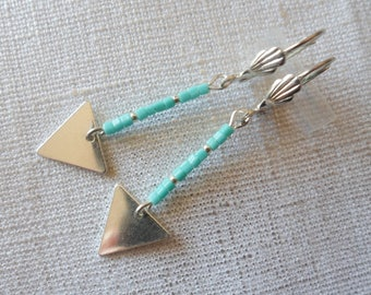 Turquoise beads and silver triangle Stud Earrings