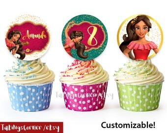 Elena of Avalor cupcake toppers, Elena of Avalor, Elena of Avalor party, Rlena of Avalor birthday, Elena of Avalor labels, avalor circles