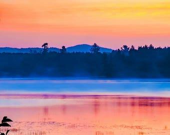 Raquette Lake, Colorful Landscape, Adirondack Print, Adirondack Sunrise, Lake Sunrise, Fine Art Photography, Decorative Print, Nature Art
