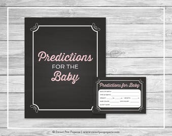 Chalkboard Baby Shower Predictions for Baby - Printable Baby Shower Predictions for Baby - Pink Chalkboard Baby Shower - Predictions - SP155