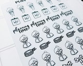 Cora - Plan/ planning | mid size monochrome character / action | Planner stickers (#CORA6)