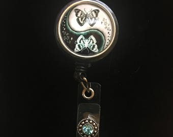 Maripose Yin and Yang -Nurse Retractable ID Badge Reel/ RN Badge Holder/Doctor Badge Reel/Nurse Badge Holder/Nursing Student Gifts