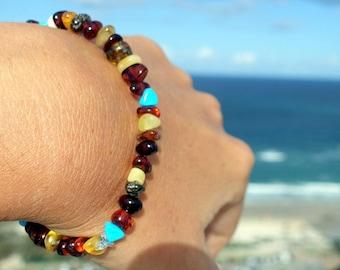 Baltic Amber Bracelet, Beaded Amber Bracelet For Adults With Blue Turquoise Beads, Multi color Gemstone Bracelet