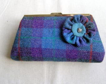 Dark purple and teal Harris Tweed clutch bag with matching detachable flower corsage
