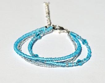 Aquamarine bracelet Tiny bracelet Blue bracelet Bohemian jewelry Bohemian bracelet Nautical bracelet Girlfriend gift|for|her Daughter gift