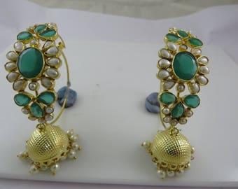 Jhumka Earrings with Hoop|Indian Jewelry|Bridal Jewelry|Chandelier Jhumka Earrings|Traditional Designer Jhumka Earring with Pearl and Kundan