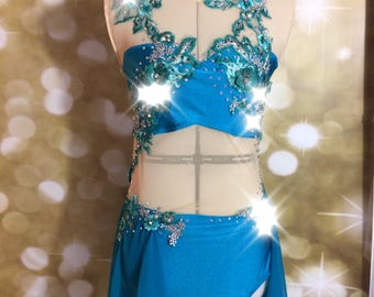 Lyrical dance costume, competition dance costume, solo dance  costume with champahne chiffon, peachy pink appliques and swarovski Crystal ab