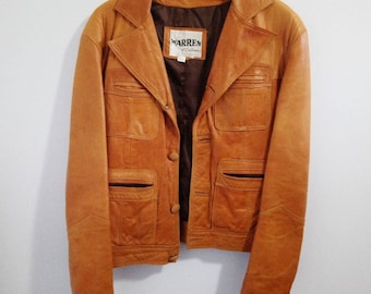 Tan leather jacket, Warren brand leather coat