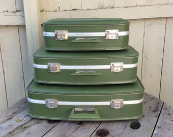 Vintage Set of THREE Green Suitcase 1970s