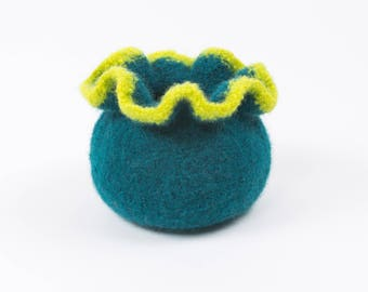 Wool Felted Ruffled Top Bowl/Vase  - Teal and Lime