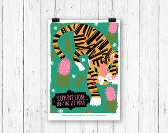 Screen print poster Tiger - Elephant Stone at Vera Groningen - gig poster 70 x 50 cm