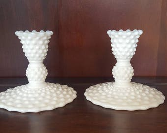Hobnail Milk Glass Candlestick Holders/ Wedding Decor