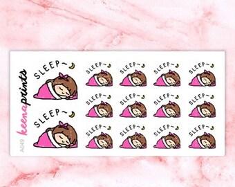 15% OFF A049 | Sleeping stickers, Keenachi resting stickers, tired stickers, relax stickers, emotion stickers, emoji stickers, planner stick