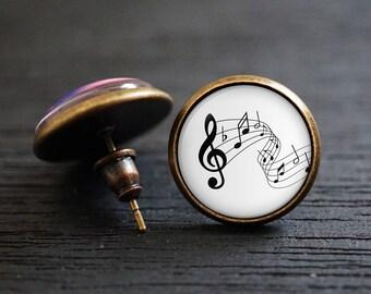 Music Earrings ,Melody Earrings, Note Earrings, Musician Earrings ,Stave Earrings