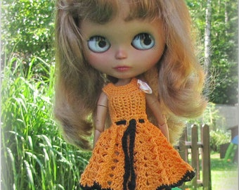Crocheted dress for Blythe doll. Free shipping