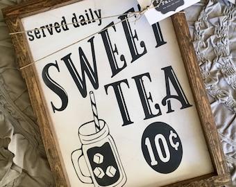 Sweet Tea Wood Sign | Farmhouse Decor | Wood Framed Sign