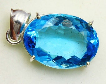 57.95Ct Certified Blue Topaz Wonderful Pendant 925 Solid Sterling Silver AX4262