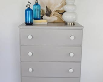 SOLD - Tall boy gray and white dresser. Pine highboy dresser with new wooden white knobs.