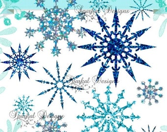 ON SALE Christmas Svg, Snowflake SVG, Snow Cutting File and Glitter Snowflakes in Png format Dxf and Svg for any program that uses Svg or Dx
