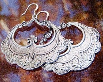 Silver Gypsy Earrings, Big Dangle Earrings, Boho Earrings, E594