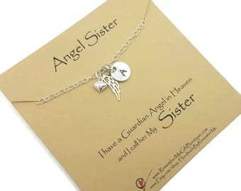 Angel Sister, Loss of Sister, Death of Sister, Memorial Gift, Sympathy Gift, Memorial Jewelry, Sympathy Jewelry, Gift for Loss of Sister