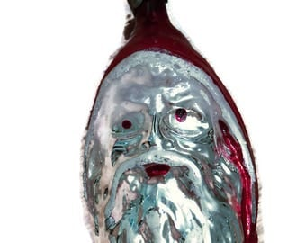Vintage Santa Glass Christmas Santa Head Ornament Vintage Christmas