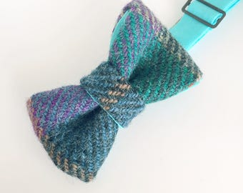 Blue Tweed Bow Tie