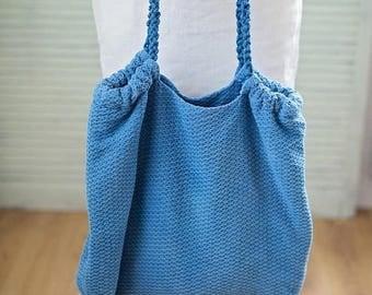 Indigo Tote Bag, Blue Beach Bag, Beach Tote, Tote Bag, Rope Handles Bag, Natural Linen, Summer Bag, Vacation Bag, Vegan Bag, Bag with Pocket