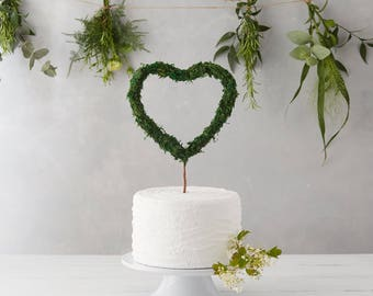Rustic Cake Topper, Heart Cake Topper, Moss Wedding Decor, Boho cake topper, Wire cake topper, cake toppers unique, cake toppers