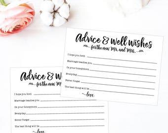 wedding advice cards etsy