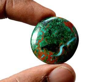 Chrysocolla 30.5 Cts AAA Quality Natural Gemstone Attractive Designer Round Shape Cabochon 25x25x5 MM R14122