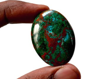 Chrysocolla 49 Cts AAA Quality Natural Gemstone Attractive Designer Oval Shape Cabochon 34x25x6 MM R14366