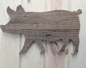 Rustic Wood Pig Wall hanging Sign, Pig, Wood Pig