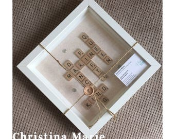 Happy 50th birthday frame, handmade scrabble gift present