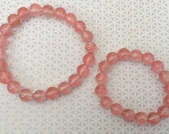 Cherry Quartz Dog Necklace and Bracelet Set