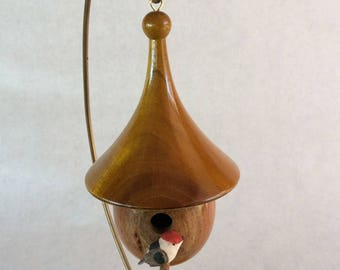 Handturned wooden birdhouse with yellow roof with multicolored bird, wooden Christmas ornament (2)