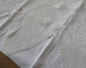Antique Irish Linen Hand Crochet Nightdress Slip Case