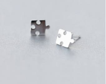 Cute & Simple 925 Sterling Silver Dainty Jigsaw Puzzle Piece Earrings with Gift Box