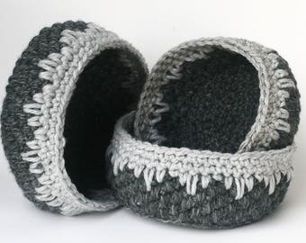 Crochet Nesting Bowls in Charcoal and Heather Gray - Handmade Baskets - Soft-sided Storage - Catchall